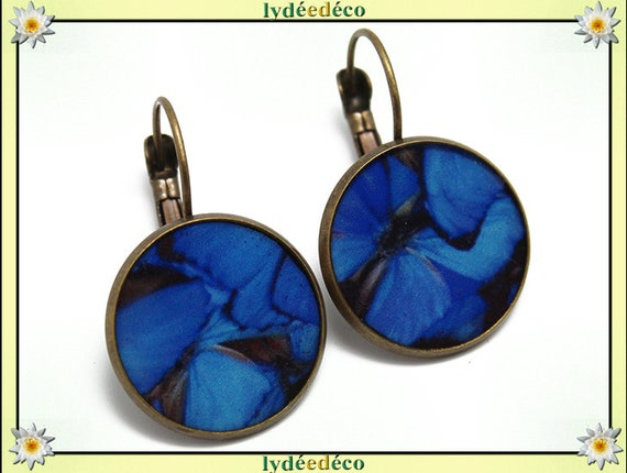 Earrings retro Butterfly blue white resin and brass 2cm