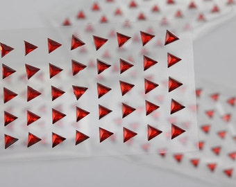 6mm Red Ruby Stick On Triangle Rhinestones Gems For DIY Cards and Invitations  - 50 Pieces