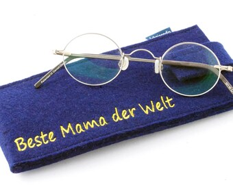 Felt embroidered eyeglass case with your desired text