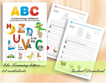 ABC Learning Letters Workbook | 34 Alphabet Worksheets for Preschool & Kindergarten as printable PDF