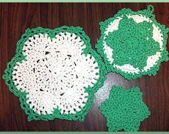 Winterflower Dishcloth Hotpad Coaster set, Instant Download Crochet Pattern