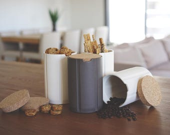 kitchen canisters, modern cork, ceramic, kitchen storage, scandinavian modern, coffee canister, coffee jar, kitchen jars, minimalist storage