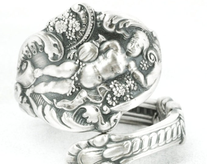 Dionysus God of Wine Ring Gift for Her, Sterling Silver Spoon Ring, Antique 1888 Gorham Versailles, Art Nouveau, Adjustable Ring Size (7095)