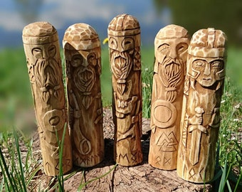 Small Wooden Figurines of Norse Gods - Odin, Thor, Loki, Heimdall, Freyr ... and Tyr