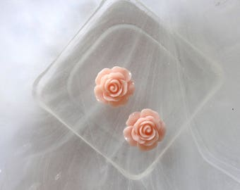 small pink rose cabochon flower scrapbooking