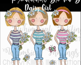Daisy Girls planner sticker clip art, PNG, small commercial use allowed, instant download