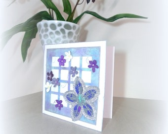 Handmade Flower card Clematis Birthday flower card Gardener card Handmade clematis Best friend card Purple flowers Recycled mcrtycards UK
