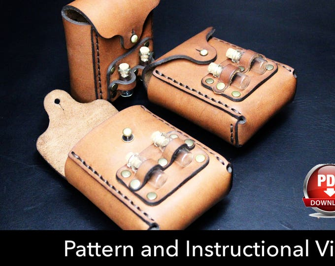 Pouch Pattern - Leather DIY - Pdf Download - Leather Pattern - pocket Pattern - utility pouch Pattern