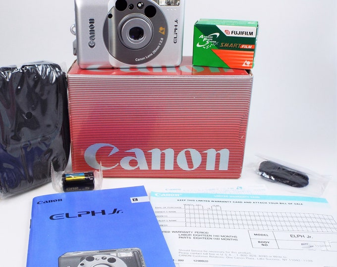 Canon ELPH Jr. APS Film Camera Outfit - Mint New in Box - Canon 26mm f/2.8 Lens - Owners Book - Case - Fujicolor Film & Battery Included!