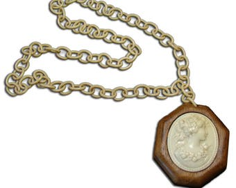 Large Celluloid and Wood Necklace Cameo - 1940's