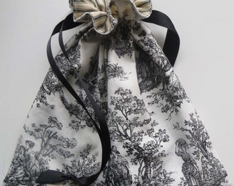 Black Toile with Ticking Lined Drawstring Fabric Bag