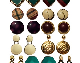 Mulberry Garden Vintage 80's Lot of 11 Pairs Pierced Earrings