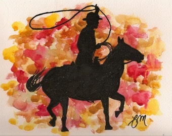 """Original Cowboy Lasso Watercolor Painting Portrait 12x9"""" : Gift for Rodeo, Western, Horse Lover"""