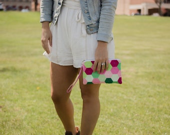 Felt Zipper Pouch Wristlet Wallet Colorful Bags Luxury Wool Bag Wristlet Pouch Zipper Bag Zipper Wallet Ombre Bag Green and Pink Handbag