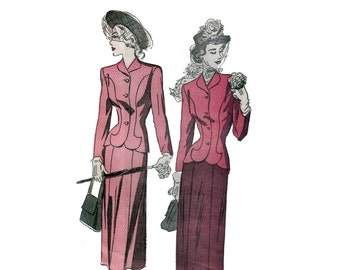 40s Lili Ann Style Suit pattern Fitted Suit pattern Skirt Suit pattern 34-28-37 Advance 4868