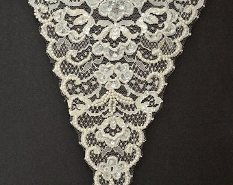"Pearl Beaded Sequin Neckline Applique, Bridal Applique, 10"" x 8"", ROI-44592"
