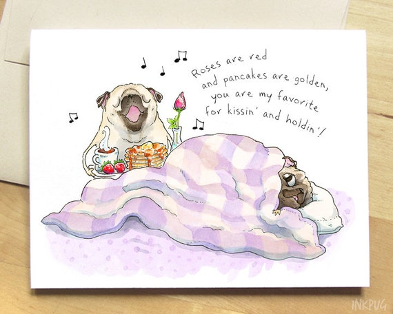Breakfast In Bed Funny Valentine Cute Pug Love Cards Funny