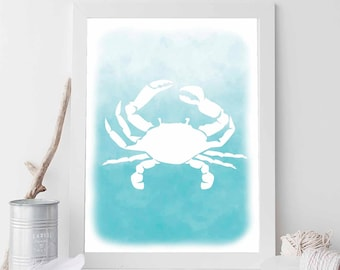 Coastal Art, Crab Print, Watercolor Wall Decor, Beach House Decor, Digital Print, Crab Wall Art, Nautical Art, Nautical Poster, Aqua Print