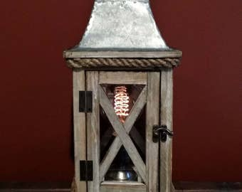 One-of-a-kind Upcycled Repurposed Wood Metal & Glass Nautical Candle Holder Rustic Steampunk Art Lamp w/Vintage Style Edison Light Bulb