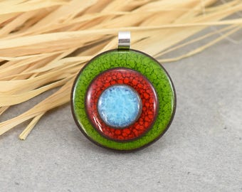 Seventies ceramic pendant and 925 Silver - green/red/blue graphic pendant