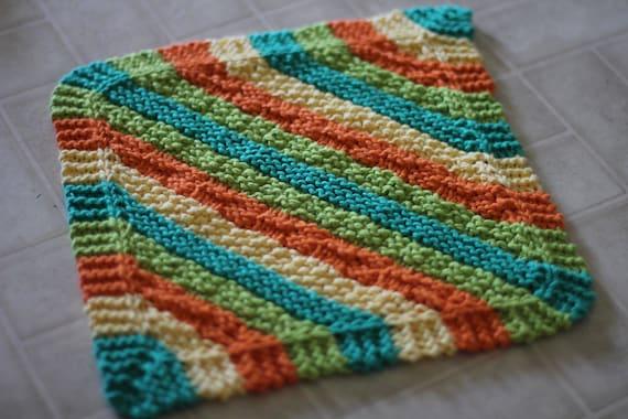 Hot Stripes Hanging Dish Towel And Diagonal Stripes Dishcloth