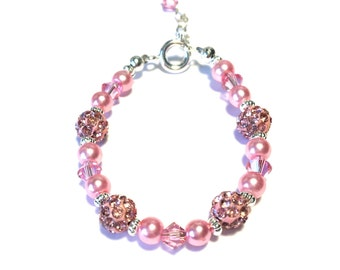 Pink Pave and Swarovski Crystal and Pearl Bracelet for baby girl