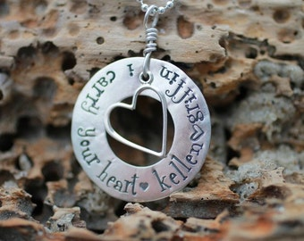 hand stamped, i carry your heart, sterling silver necklace with heart and names