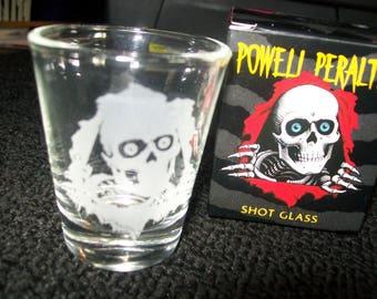 Powell Peralta Ripper Shot Glass Laser Etched Bones Brigade Animal Chin Lance Mountain Gunga Din