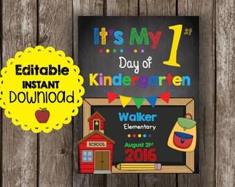 50% OFF SALE First Day of Kindergarten - EDITABLE - Instant Download - Teacher - Classroom - Printable - Chalkboard