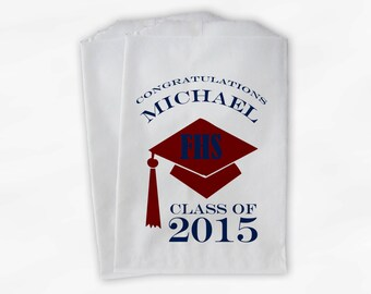 2018 Graduation Cap Personalized Candy Buffet Bags - Set of 25 Maroon and Navy High School Grad Custom Favor Bags in School Colors (0060)