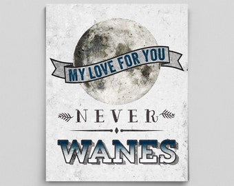Lunar Poster Space Print Anniversary Gifts for Her Him Inspirational Quote Typographic Print Love Moon Print My Love Never Wanes Moon Poster