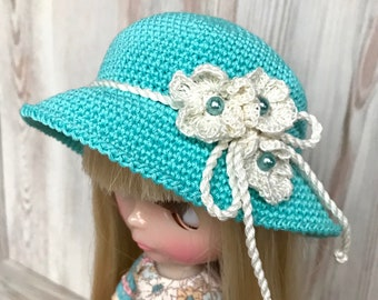 Blythe hat, doll crochet hat, floral dolls hat, Blythe clothes, Pullip clothing, doll outfit, 30 cm dolls hat, turquoise doll hat