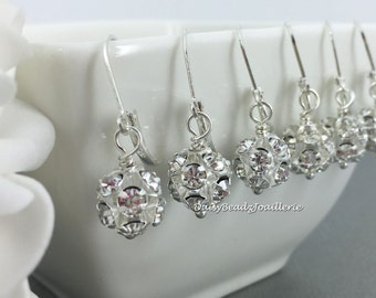 Bridesmaid Gift Classic Drop Earrings Dangle Earrings Rhinestones Earrings Junior Bridesmaid Earrings Flower Girl Gift for Her Maid of Honor