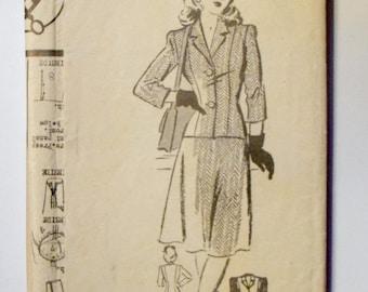 Anne Adams 1940s Jacket Sewing Pattern 4500 Size 16 Bust 34