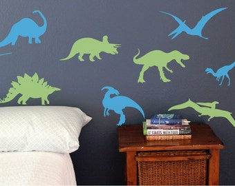 Great Set Of 8 Dinosaurs, Fun Dino Wall Decals