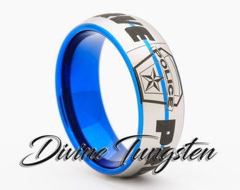 blue wedding line inlay rings enforcement collection and carbide with cz fiber thin diamond ring red law tungsten black pin