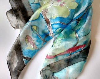 Hand-painted scarf 100% silk