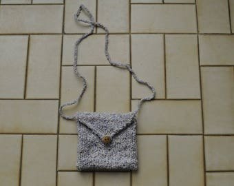 small shoulder bag wool with wooden button