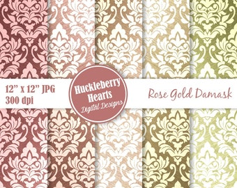 Rose Gold Paper, Rose Gold Damask, Damask Paper, Digital Damask, Metallic, Printable, Commercial Use