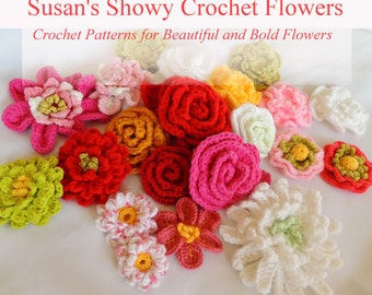 Flower Crochet PATTERNS - Susan's 14 New Crochet Flower Patterns - Instant Download