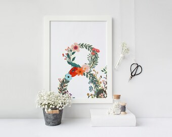 PRINTABLE Art Ampersand Floral Ampersand Art Print Floral Art Print Floral Wall Art Home Decor Nursery Decor Apartment Decor
