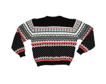 vintage sweater 80s boys girls childrens clothing geometric print black white red winter size 12 14