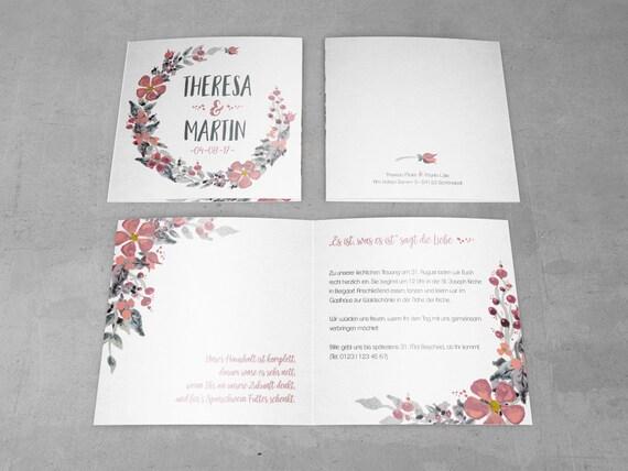 Einladungskarten | Aquarell Rosa Grau