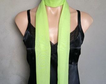 Green Scarf, Green Choker Scarf, Slim Skinny Scarf, Daphne Costume Scarf, Thin Skinny Scarf,  Daphne Green Scarf, Green Scarves, Sheer Scarf