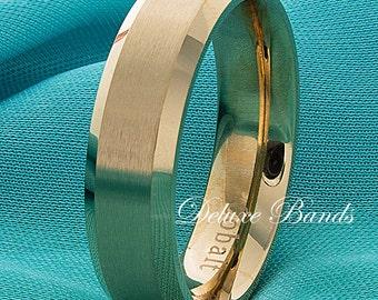 Mens Gold Cobalt Wedding Band,6mm,Brushed Beveled Edges Cobalt Band,Anniversary Band,Gold Cobalt Wedding Ring,Cobalt Chrome Wedding Band