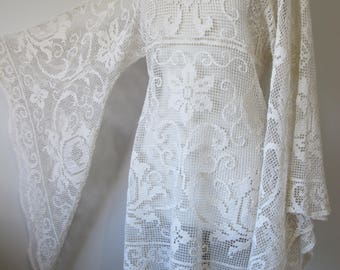 Vintage Italian Cotton Crochet Lace Bell Sleeve Dress, Boho Wedding Dress, Honeymoon Cover Up Beach Dress White or Ivory Beige