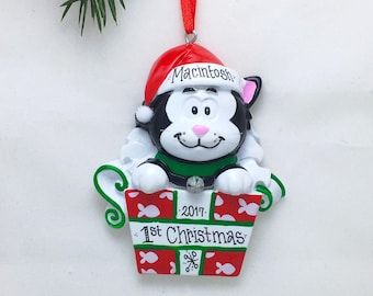 Black and White Cat Personalized Christmas Ornament / Kitten Christmas Ornament / Pet Christmas Ornament