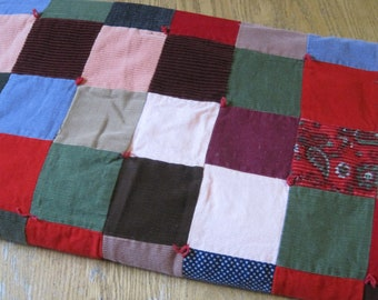 Adorable Vintage Heavy Weight Patchwork Lap or Baby Quilt or Blanket with Corduroy