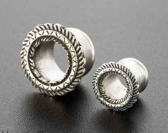 00g Tribal Ear Tunnel. Unique Ear Gauges. Silver Plugs And Tunnels. 00g Ear Gauges. Ear Plugs Gauges. 10mm Silver Ear Tunnels