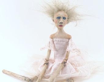 Art doll hard sculpted clay and wood bead jointed limbs hand sewn dress ooak sculpted Lena Ballerina